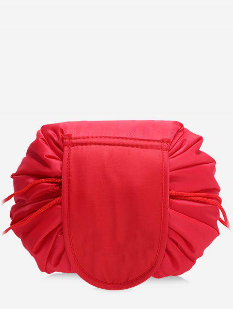 Solid Color Cosmetic Large Capacity Toiletry Bag - RED