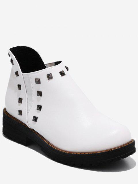Plus Size Studded Ankle Chelsea Boots - WHITE EU 42