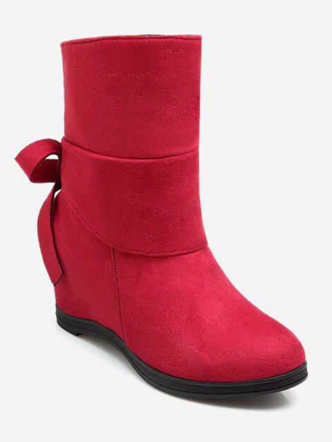 Plus Size Bowknot Hidden Wedge Ankle Boots - RED EU 43