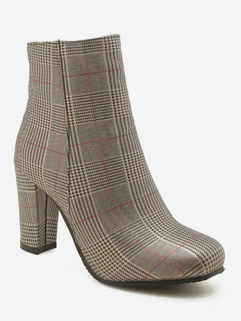 Plus Size Chunky Heels Plaid Pattern Ankle Boots - CAMEL BROWN EU 43