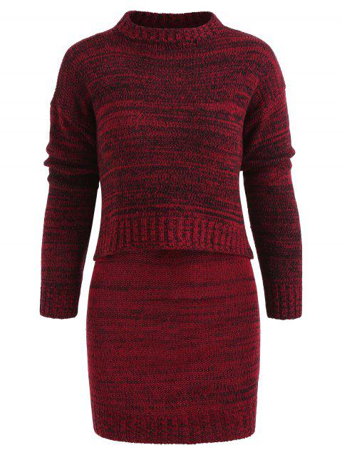 Long Sleeve Crop Sweater and Bodycon Skirt - RED WINE ONE SIZE