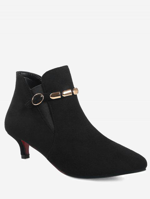 Plus Size Pointed Toe Ankle Strap Boots - BLACK EU 40