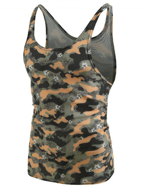 Camouflage Pattern I-shaped Tank Top - BROWN SUGAR L