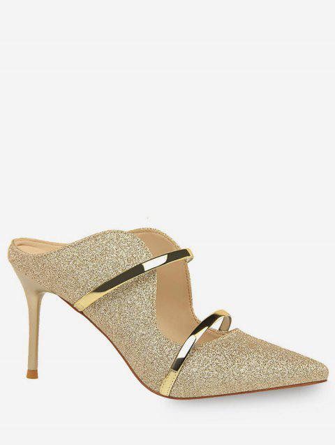 Glitter Double Straps Pointed Toe Slingback Pumps - GOLD EU 40