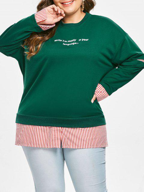 Plus Size Letters Plaid Panel Pullover Sweatshirt - GREEN 3X