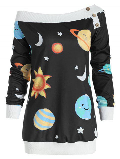 Sun and Moon Print Sweatshirt - BLACK 2XL