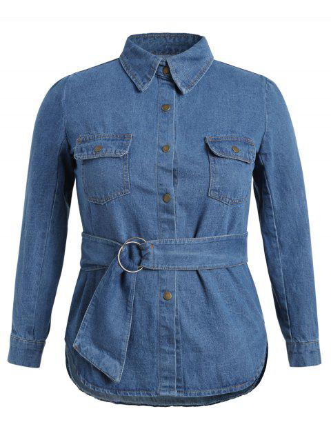 3a7a5fc304 LIMITED OFFER  2019 Plus Size Front Pockets Jean Shirt with Belt In ...