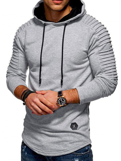 Solid Color Pleated Sleeve Long Fleece Hoodie - LIGHT GRAY L