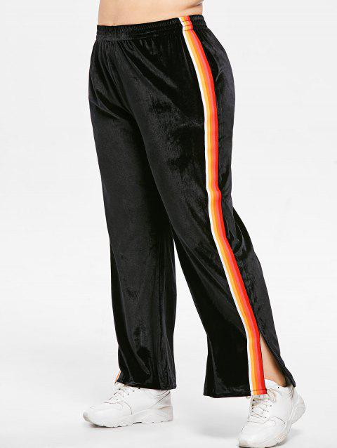 Plus Size Striped Ribbons Velvet Pants - BLACK 1X