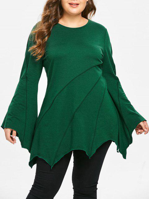 Plus Size Flare Sleeves Asymmetric Longline Tee - DEEP GREEN 3X