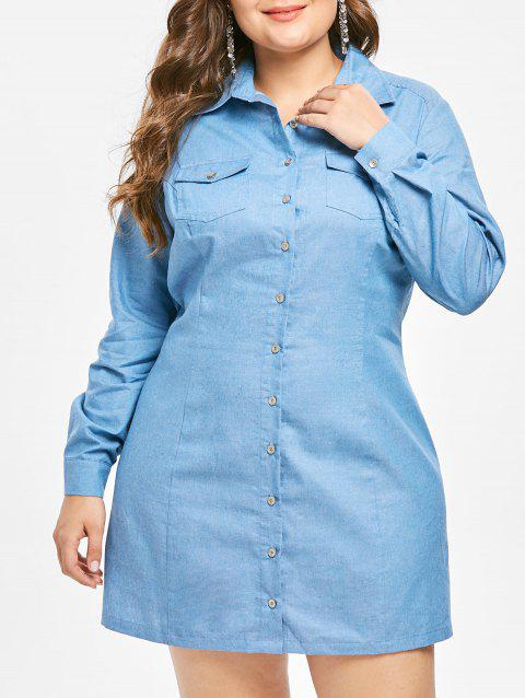 2bbe71b944 LIMITED OFFER  2019 Plus Size Long Sleeves Denim Shirt Dress In BLUE ...