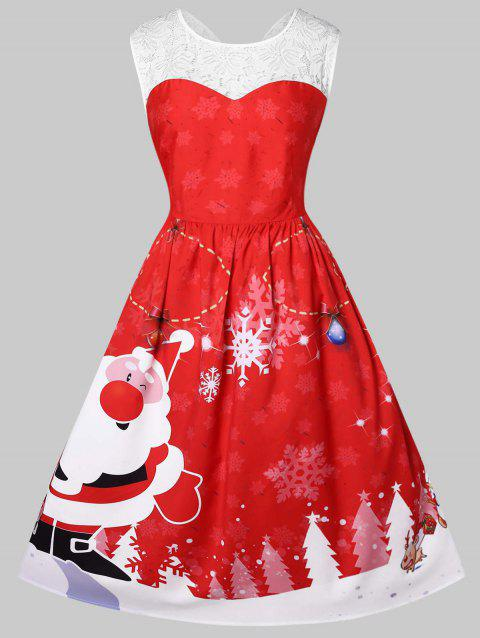 9593ee3538b 29% OFF  2018 Plus Size Vintage Santa Claus Print Christmas Dress In ...