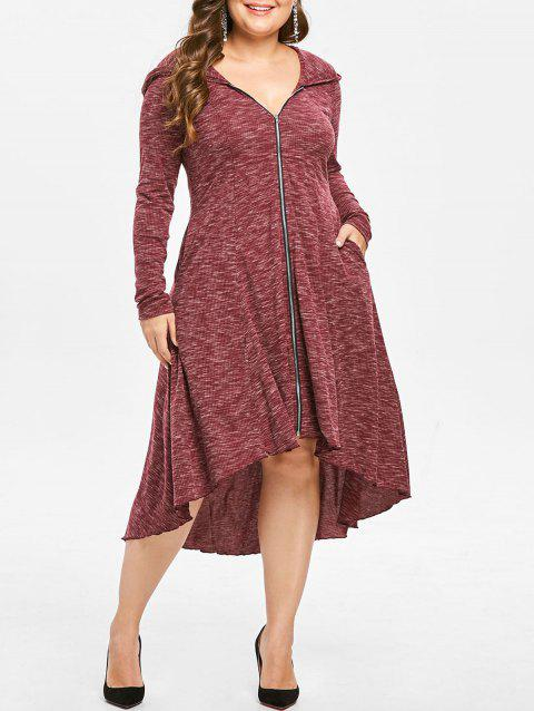 Plus Size Zip Front Hooded AsymmetricalDress - CHERRY RED 3X