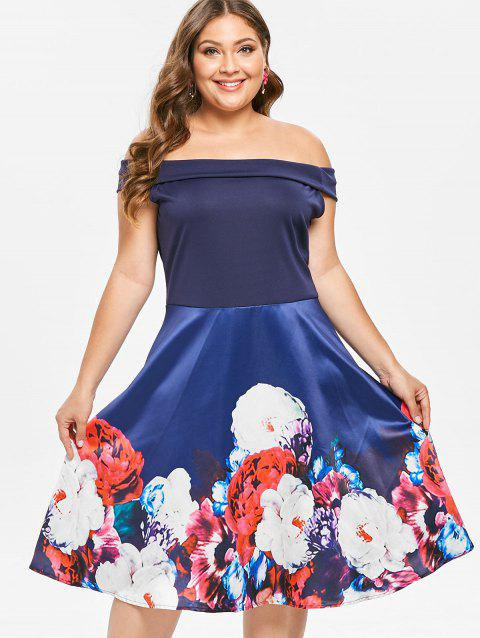 Plus Size Off The Shoulder Floral Swing Dress