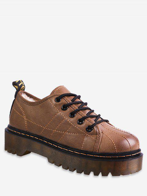 Sewing Lace Up Platform Sneakers - BROWN EU 40
