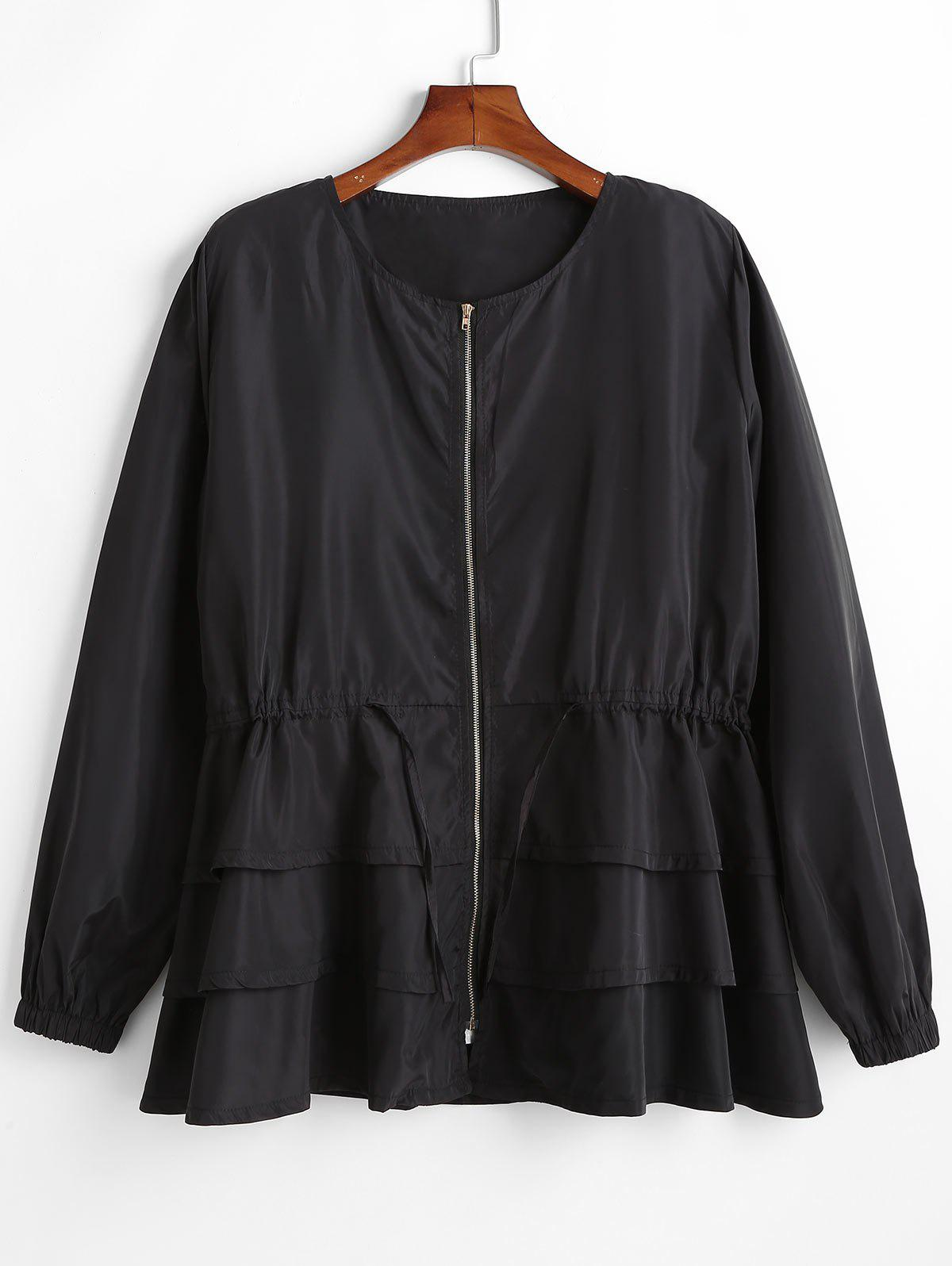Plus Size Zipper Layered Flounce Trench Coat - BLACK L