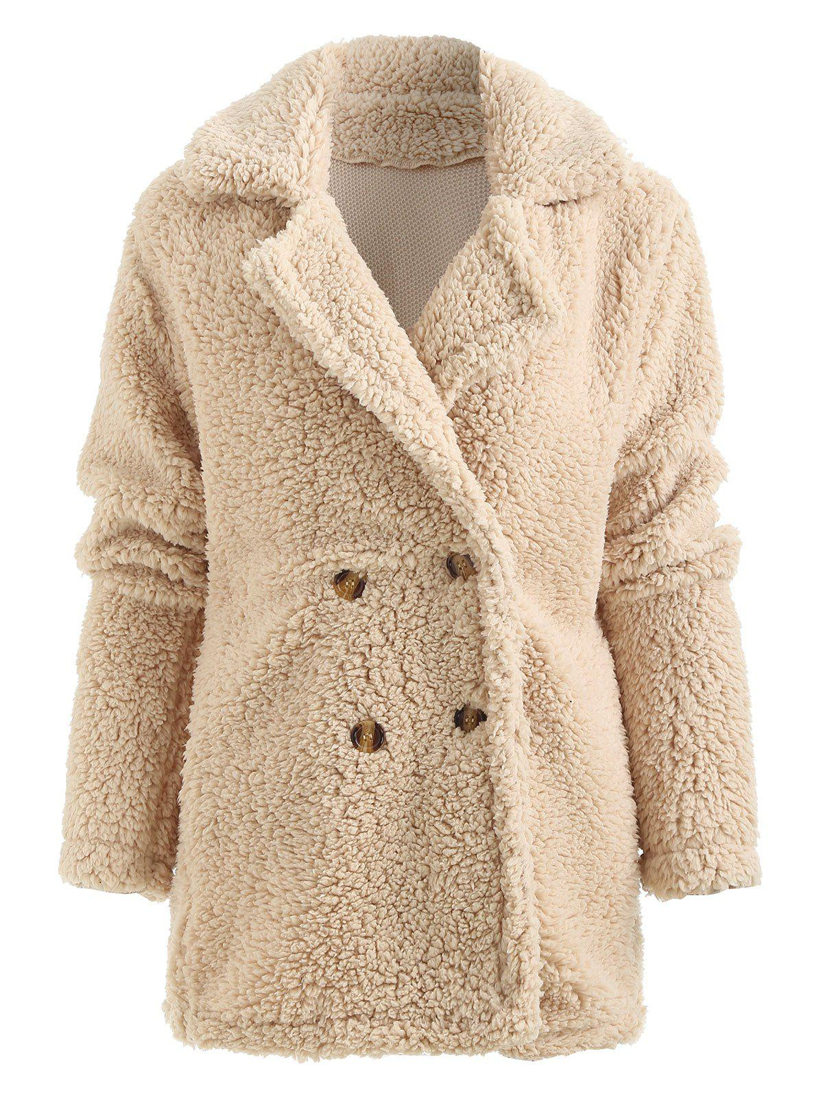 dresslily - Double Breasted Faux Fur Coat with Pocket