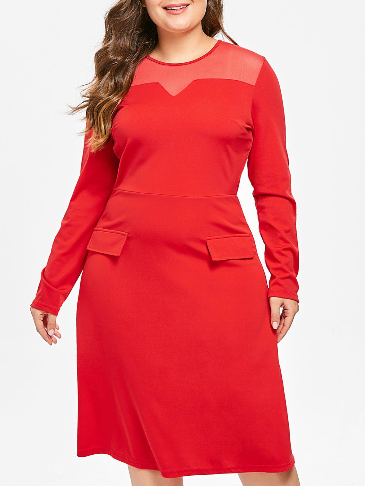 Plus Size Mesh Insert Midi Dress фото