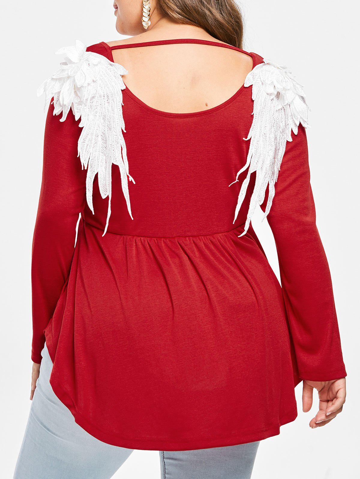 Plus Size Cutout Embroidered Wings Long Sleeves Tee - RED 2X