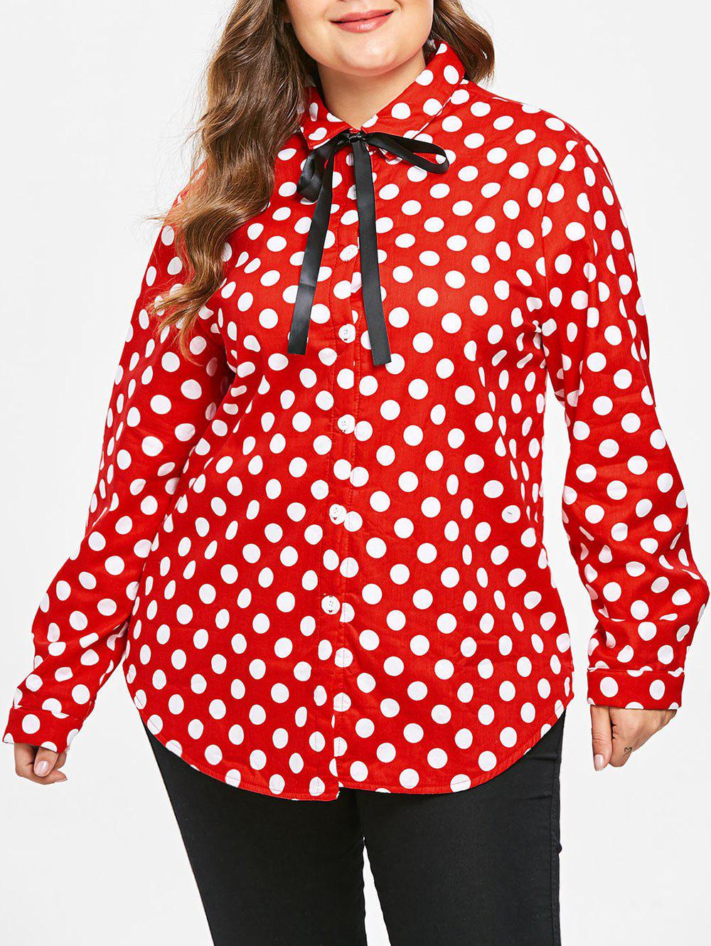 Plus Size Polka Dot Fleece Shirt with Tie - RED L
