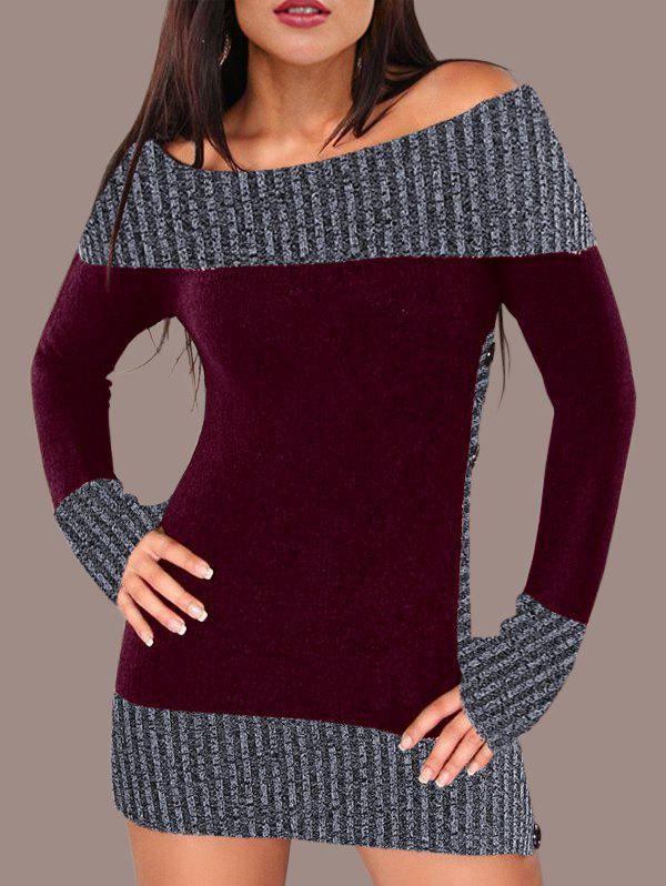 Hit Color Tunic Knitted Dress - RED WINE XL