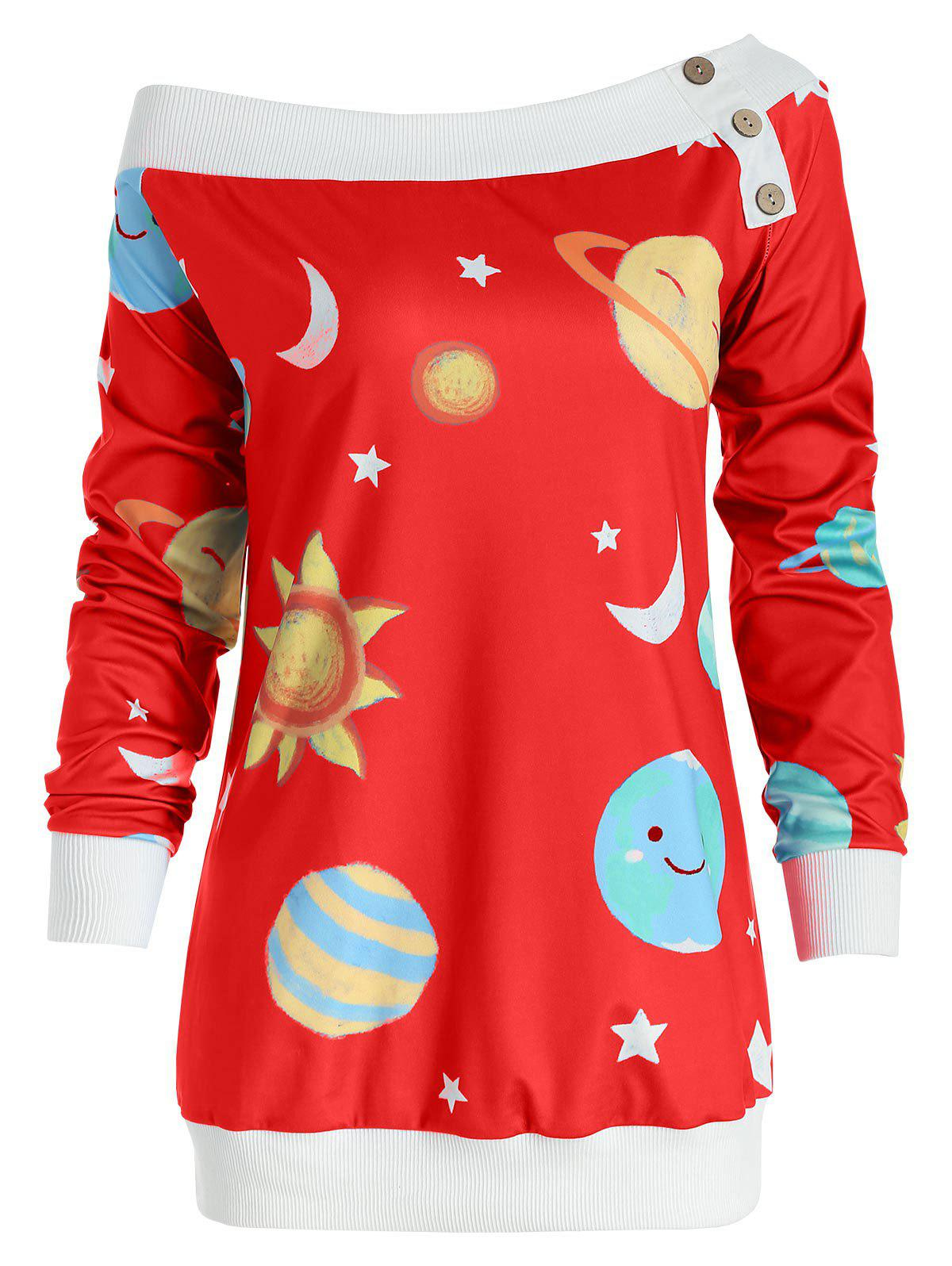 Sun and Moon Print Sweatshirt - RUBY RED L