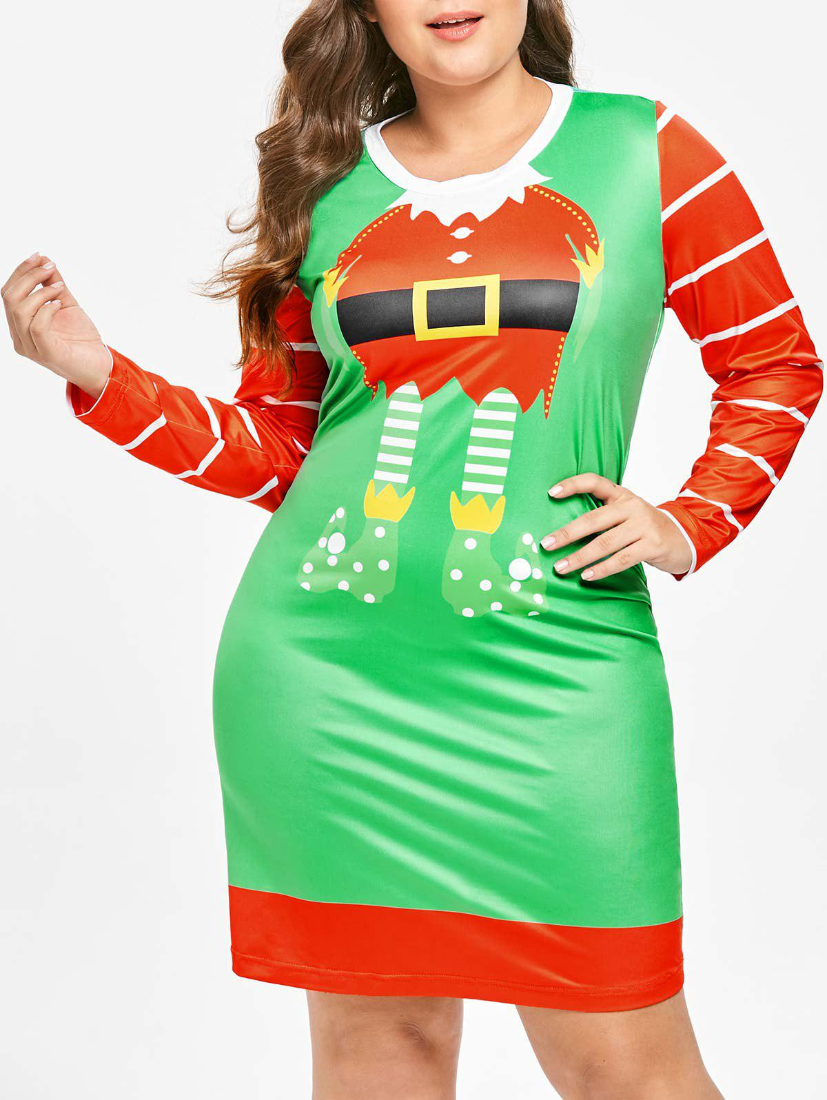 Plus Size Long Sleeves Santa Claus Christmas Dress