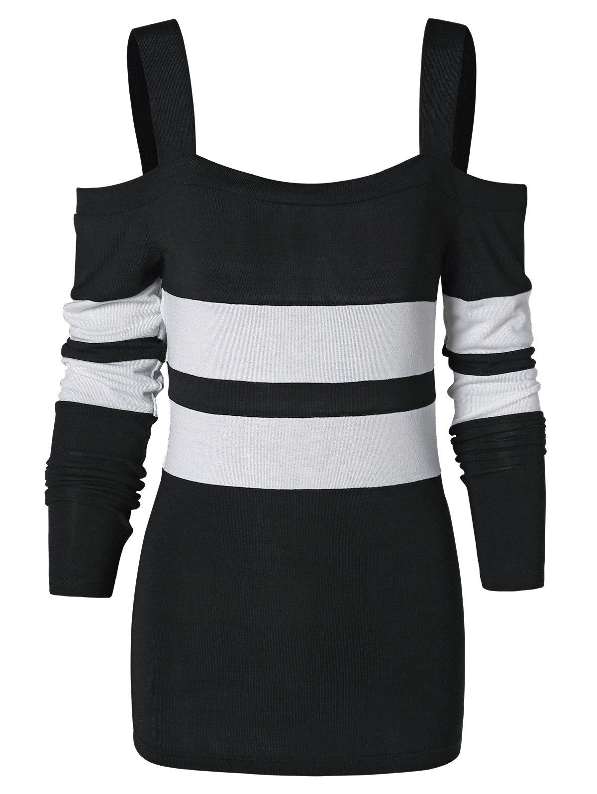Straps Two Tone Long Sleeves Top - BLACK L