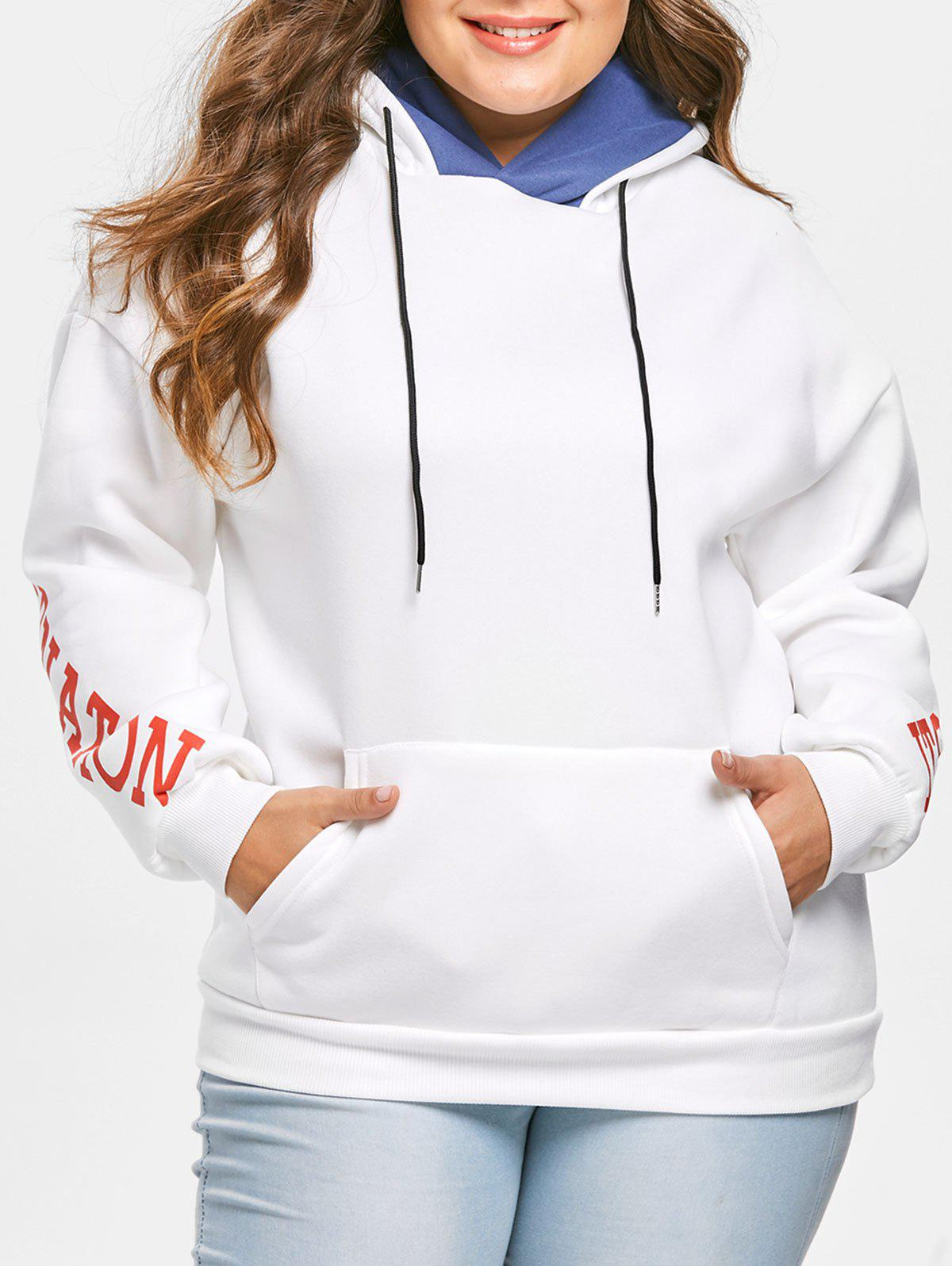 Plus Size Letters Front Pocket Pullover Hoodie - WHITE 2X