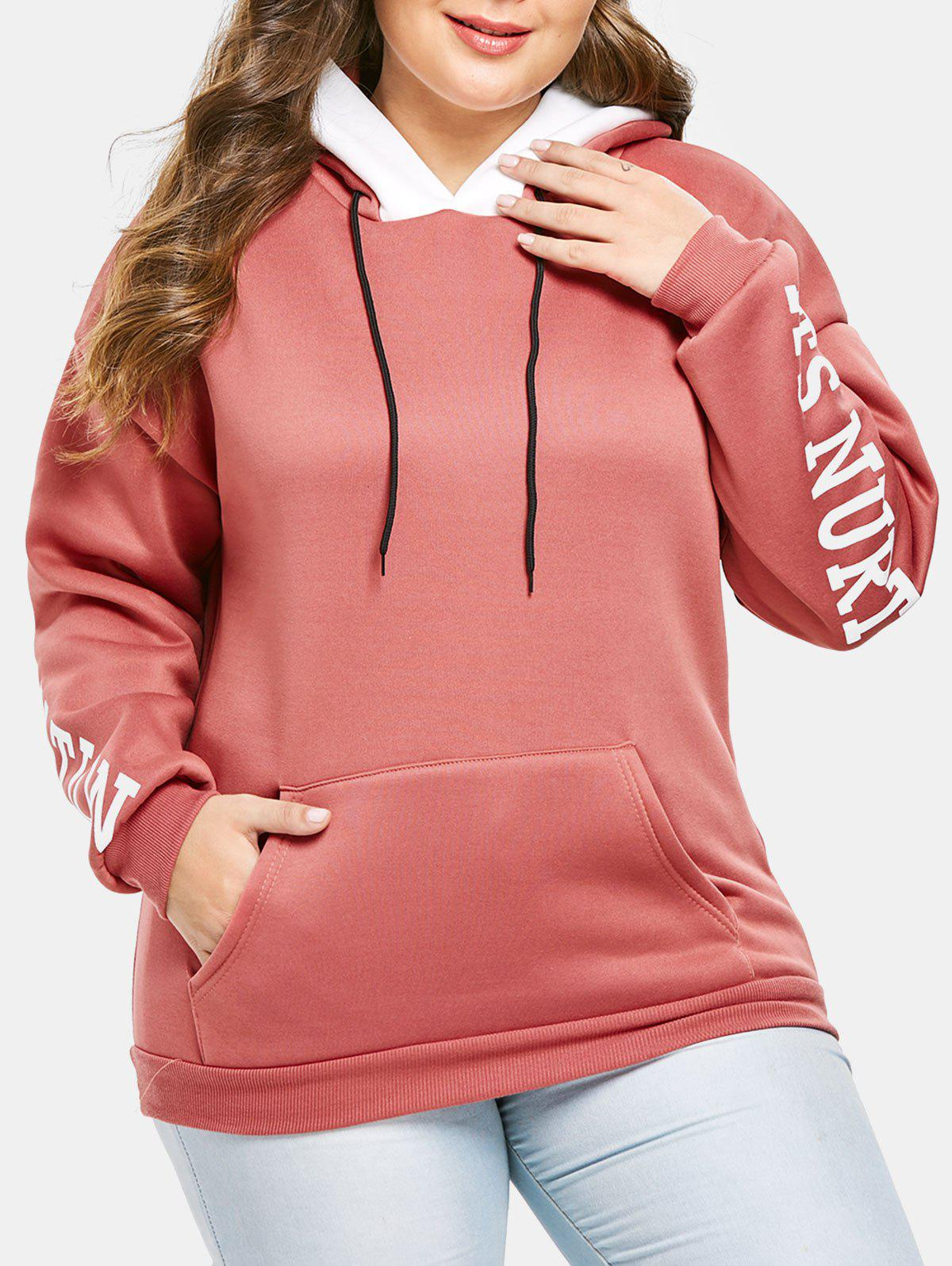 Plus Size Letters Front Pocket Pullover Hoodie - BEAN RED L