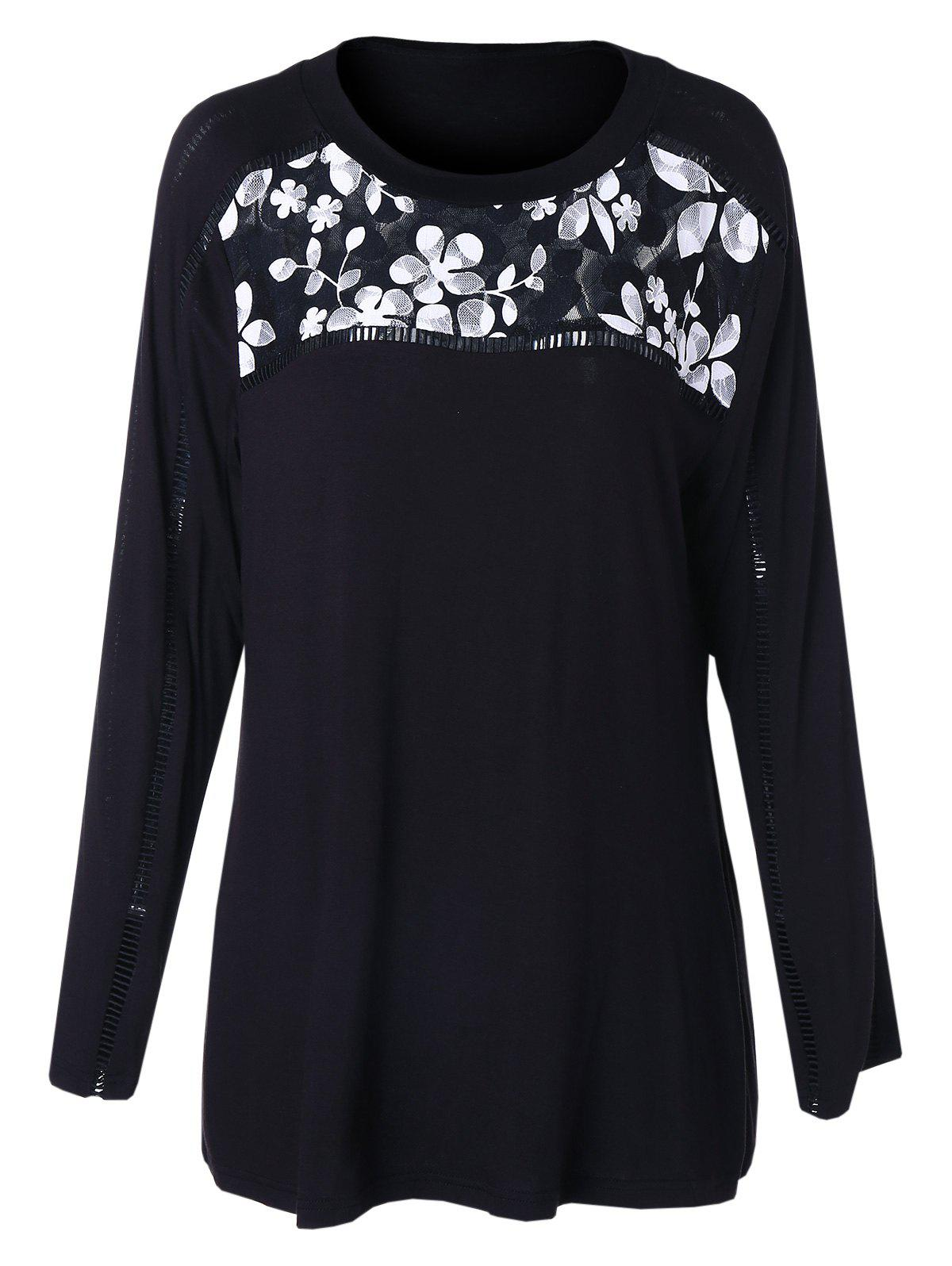 Plus Size Long Sleeves Lace Panel T-shirt фото