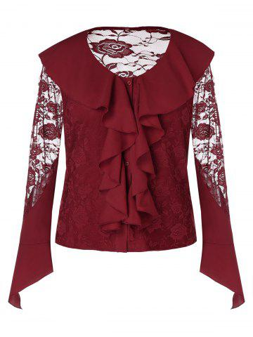 Plus Size See Through Ruffles Lace Blouse