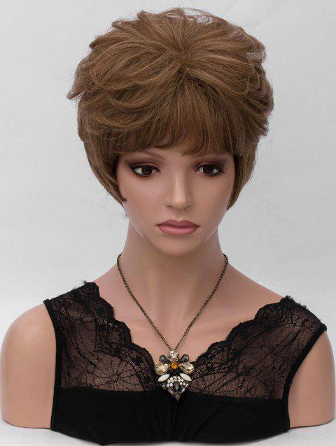 Inclined Fringe Layer Short Straight Synthetic Wig - DARK GOLDENROD