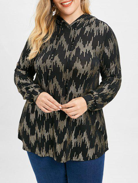 Long Sleeve Plus Size Sequin Print Hoodie - BLACK 5X