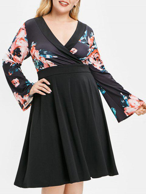 Plus Size V Neck Floral Print Dress - BLACK 5X