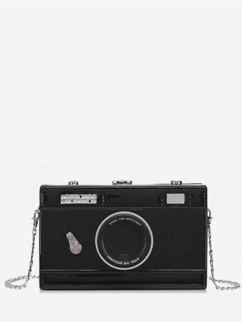 Vintage Camera Printed Crossbody Bag - BLACK