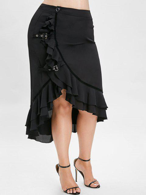 Pus Size Asymmetric Maxi Skirt with Flounce - BLACK 5X