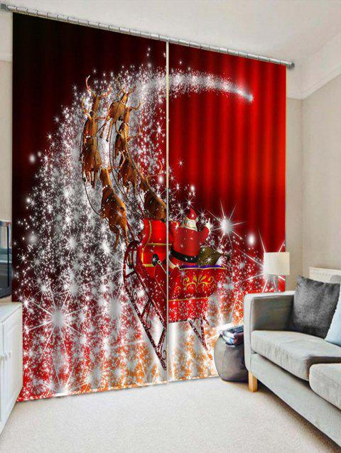2PCS Father Christmas Deer Printed Window Curtains - LAVA RED W28 X L39 INCH X 2PCS