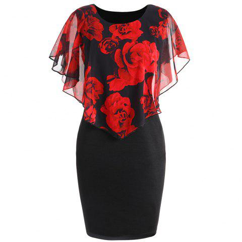 Plus Size Rose Capelet Dress - BLACK/RED 5XL