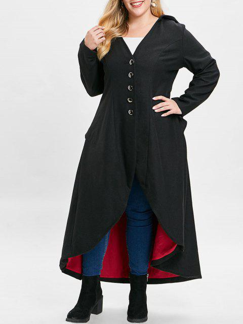 Plus Size Buttons Lace Up Hooded Longline Coat