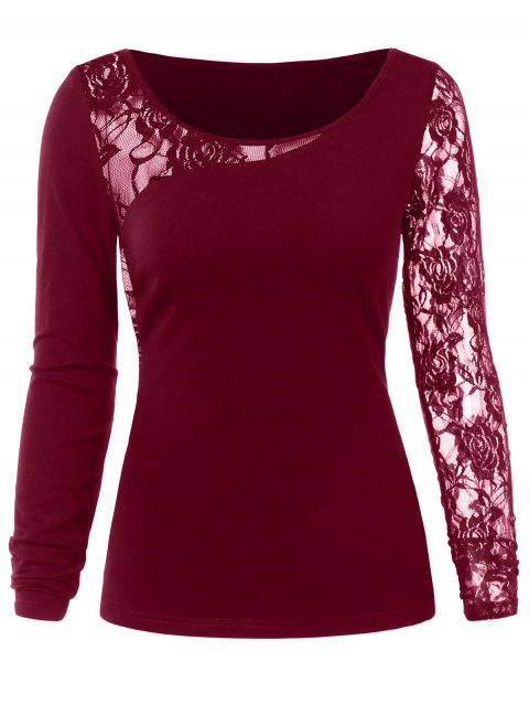 148c3092f4838 41% OFF  2019 Lace Insert T-shirt In RED WINE M