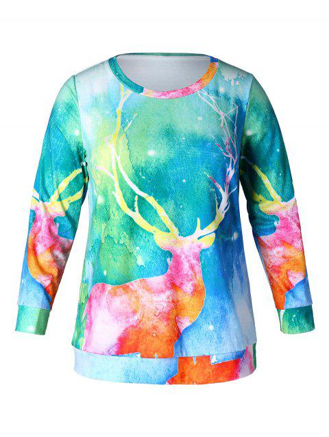Christmas Plus Size Elk Print Sweatshirt - multicolor 1X