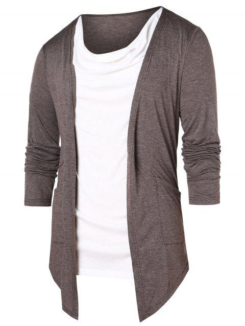 Contrast Color Faux Twinset T-shirt - COFFEE 2XL