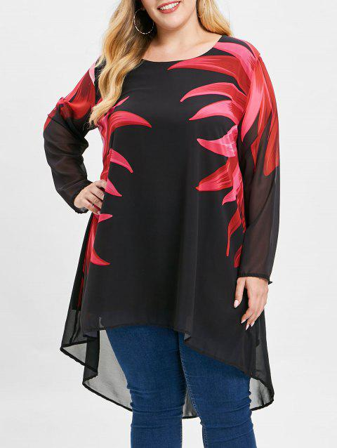 Plus Size Asymmtrical Flower Top
