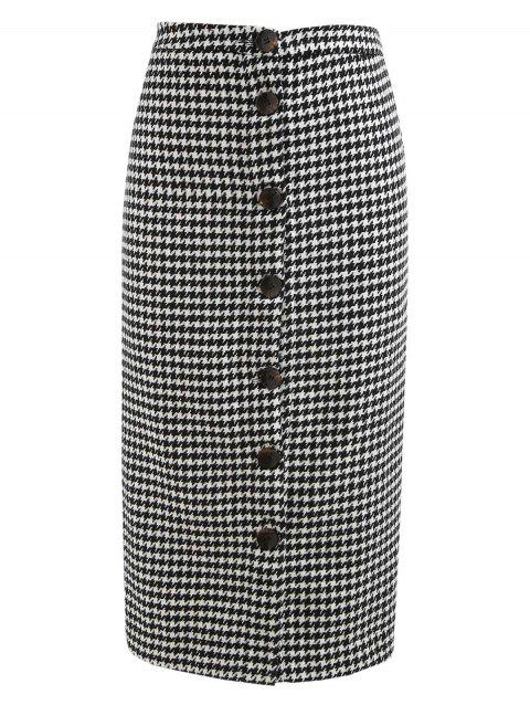 Button Up Houndstooth Print Mid Calf Skirt - BLACK S