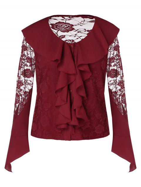 Plus Size See Through Ruffles Lace Blouse - RED WINE L