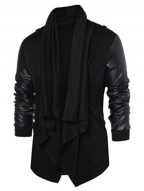 PU Leather Panel Open Front Coat - BLACK M