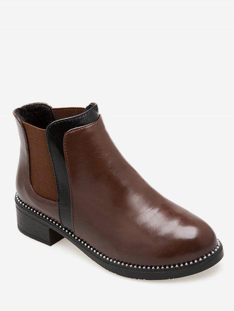 Contrast Color Ankle Chelsea Boots - DEEP BROWN EU 37