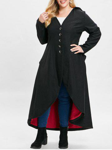 25017751f4e Plus Size Buttons Lace Up Hooded Longline Coat