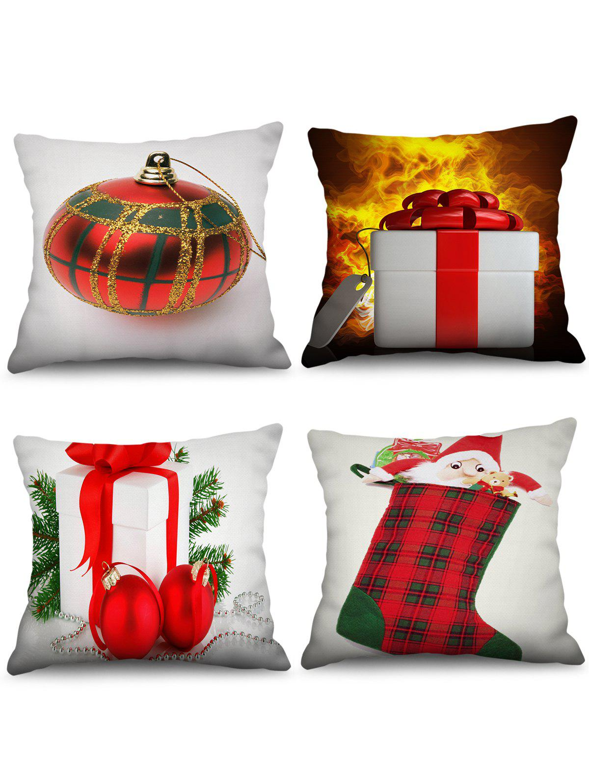 4PCS Father Christmas Gift Stocking Printed Pillowcases - WHITE W18 X L18 INCH